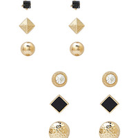 FOREVER 21 Faux Stone Stud Set Gold/Black One