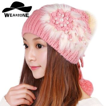 VONESC6 2016Autumn Winter warm hot sale female girl women knitted faux fur flower skullies beanies cap hat fashion accessories