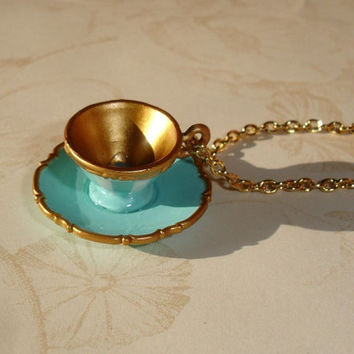 Alice in Wonderland - Tea Cup Necklace III -  Miniature tea cup necklace -  Limited Edition