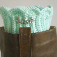 Mint crochet boot cuffs,crochet leg warmers,crochet boot toppers,Boot cuffs with charm,Beaded bootcuffs,Boot accessories,boot accessories