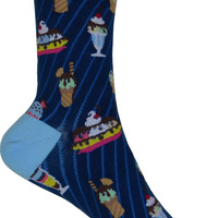 Ice Cream Sundae Crew Socks in Navy
