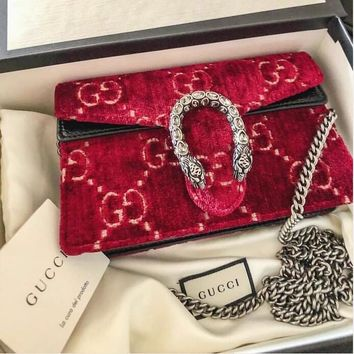 GUCCI New Fashion Autumn Winter Popular Shopping Velvet Leather Satchel Women Crossbody Shoulder Bag Red