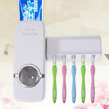 Automatic Toothpaste Dispenser 5 Toothbrush Holder Set Wall Mount Stand Toothbrush Family Sets White Fashion Bathroom