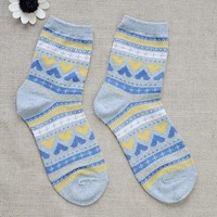 FunShop Woman's Hearts and Stripes Pattern Cotton Ankel Socks in 2 Colors Dark Grey F1104