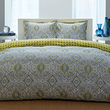 Full/Queen 100-percent Cotton Damask 3 Piece Comforter Set in Yellow / Blue