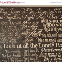 Beatles, the Best of - Lyric Collage Art on Canvas,wall decor, for Home, Office, Dorm, Bedroom, Music Room wall