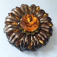 Retro Amber Glass Brooch or Pin, Sunflower, Green Rhinestones, Vintage Jewelry WINTER SALE