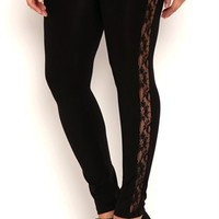Plus Size Seamless Leggings with Lace Sides