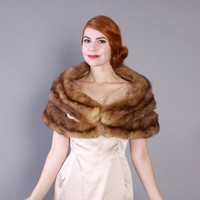 50s Genuine SABLE Fur STOLE / 1950s Plush Brown Wrap Jacket