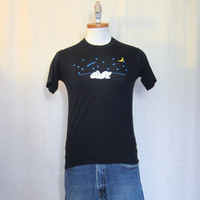 Vintage 80s STARS BEARS GRAPHIC Nature Outdoors Night Sky Unisex Small Black Soft Thin T-Shirt