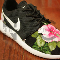 Nike Roshe Run Black White Bushel of Roses Floral Print V5 Edition Custom Womens & Men