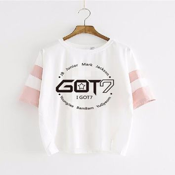 2017 Hot Sale Star The Same Paragraph Letter Printed T-Shirt Women Summer Style Fashion Casual 100% Cotton Female T Shirt got7