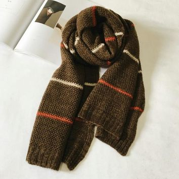 Striped Knitted Scarf Men Autumn And Winter Scarf Luxury Brand Boys Men Scarves Fashion Warm Long Men's Scarfs