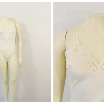 Vintage Teddy Lingerie Victoria' s Secret Ivory Bridal Lingerie Sateen & Lace Onsie Union Made in USA sz P fits modern Small Extra Small