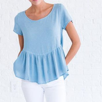 New Perspective Dusty Blue Top