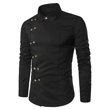 Double-breasted Turndown Collar Long Sleeve Men Shirt 2488