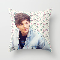 Louis Tomlinson; Floral Throw Pillow by Valerie Hoffmann