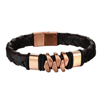 Rose Gold Tone Bracelet Stainless Steel Dark Brown Leather Wristband Custom Style