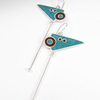 Sterling Silver Earrings - Turquoise and Chocolate Colors - Equilibrium - Fun Movement