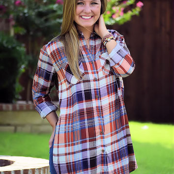 Honey I'm Good Plaid Tunic-Rust