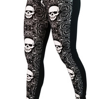 Black and White Floral Skulls Leggings Design 113