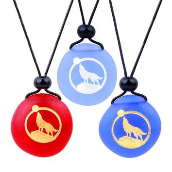 Frosted Sea Glass Stones Howling Wolf Moon Best Friends BFF Set Amulets Royal Sky Blue Red Necklaces