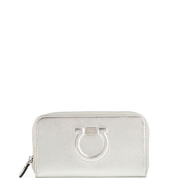Salvatore Ferragamo Gancio City Metallic Leather Zip Wallet