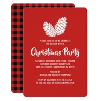 Buffalo Gingham Corporate Christmas Holiday Party Card