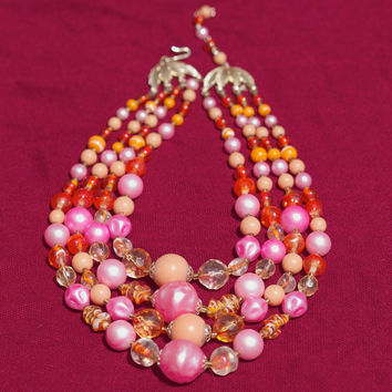Vintage Multi Strand Pink and Orange Bead Necklace