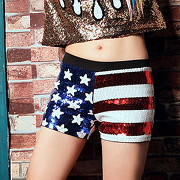 Polychrome American Flag Print Sequin Low Waist Shorts