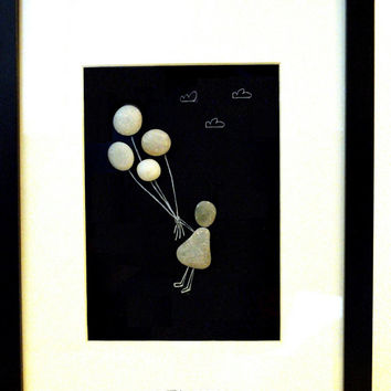 Unique Pebble Art • Balloon Girl