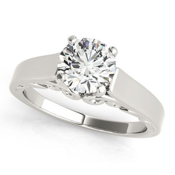 1ct. Antique Style Round Diamond Solitaire Engagement Ring in 14k White Gold