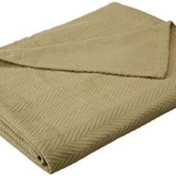 Superior 100% Cotton Thermal Blanket, Soft and Breathable Cotton for All Seasons, Bed Blanket and Oversized Throw Blanket with Metro Herringbone Weave Pattern - King Size, Sage