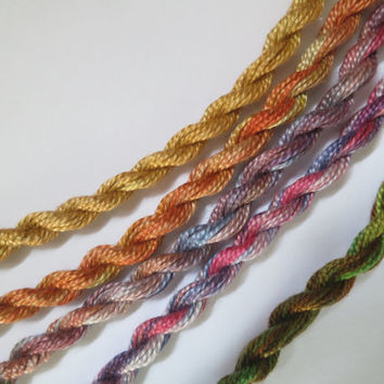 Rainbow, 5 Perle threads for embroidery or textile art etc