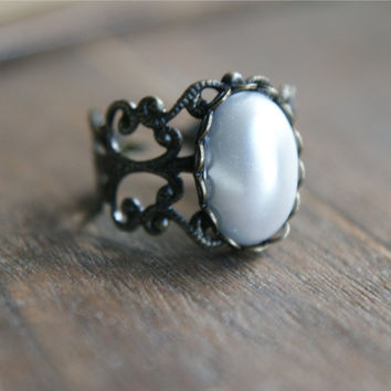Pearl Amulet Ring - $12.00 : Pangea Handmade, Vintage-Inspired Jewelry and Accessories