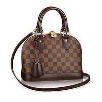 LV Women Shopping Leather Tote Handbag Shoulder Bag Authentic Louis Vuitton Damier Alma BB Cross Body Handbag Article: N41221 Made in France