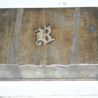 Silver Jewelry Box , Storage Copper and Silver Box , Monogram R , Legacy england