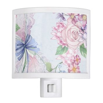 romantic flowers night light