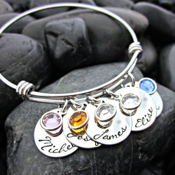 Mother's Bracelet - Personalized - Expandable - Adjustable - Names - Birthstones