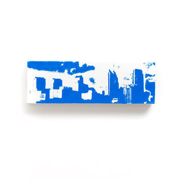 Philadelphia Skyline Canvas (White with Blue) Screenprint/Painting, Philadelphia Wall Art, Urban Art Home Decor, Philadelphia Print