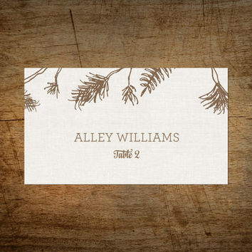 Printable Wedding Place Card - Moose Lodge - Hand Drawn - Woodland Inspired - Rustic Pine Bow - Datamerge