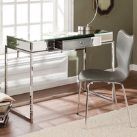 Contemporary Writing Desk Home Office Furniture Mirrored Tabletop With Drawer