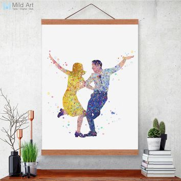 Modern Watercolor Starry La La Land Wooden Framed Home Decor Canvas Paintings Posters Prints Wall Art Pictures For Living Room
