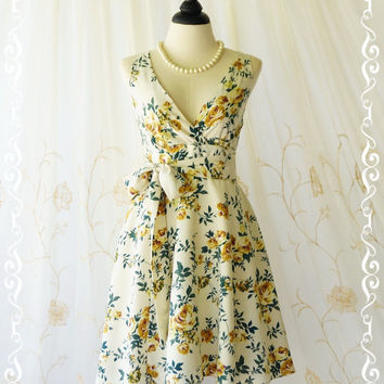 My Lady II Spring Summer Sundress Floral Party Dress Yellow Green Floral Party Dress Garden Tea Dress Floral Bridesmaid Dresses XS-XL