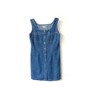 90's denim dress . button up cotton summer dress . uk size 10 . small . minimalist . grunge .