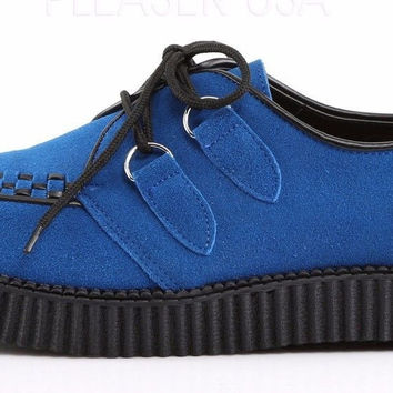 "Demonia Creeper 602 Blue Suede 1"" Oxford Comfort Shoe US Men Size"