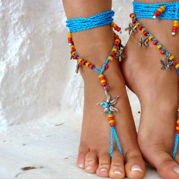 PROMO SALE Barefoot Sandals Barefoot Beach starfish Jewelry Blue CERAMIC Hippie Sandals Foot Jewelry red Toe Thong