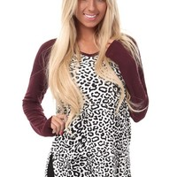 Burgundy Animal Print Top