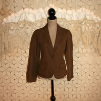Linen Cotton Brown Blazer Brown Jacket Women Jackets GAP Crop Jacket Casual Jacket Fitted Jacket Size 6 Size 8 Small Medium Womens Clothing