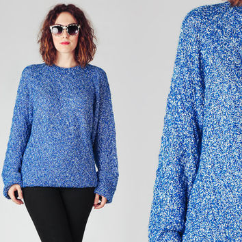 70s Royal Blue & White Oversize Sweater / Cotton Speckled Huge Sweater / Colorful Buttoned Shoulder Sweater